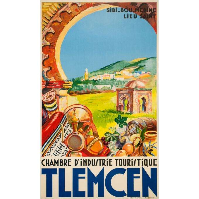 Affiche ancienne de voyage - G.Vigoureux - Circa 1930 - Tlemcen Sidi Bou Medin - 100 par 60 cm