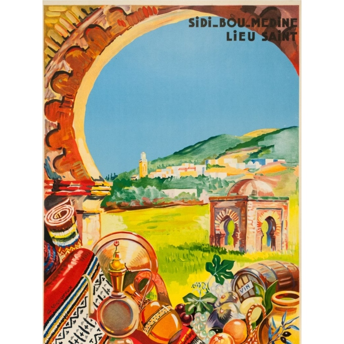 Vintage travel poster - G.Vigoureux - Circa 1930 - Tlemcen Sidi Bou Medin - 39.4 by 23.6 inches - 2