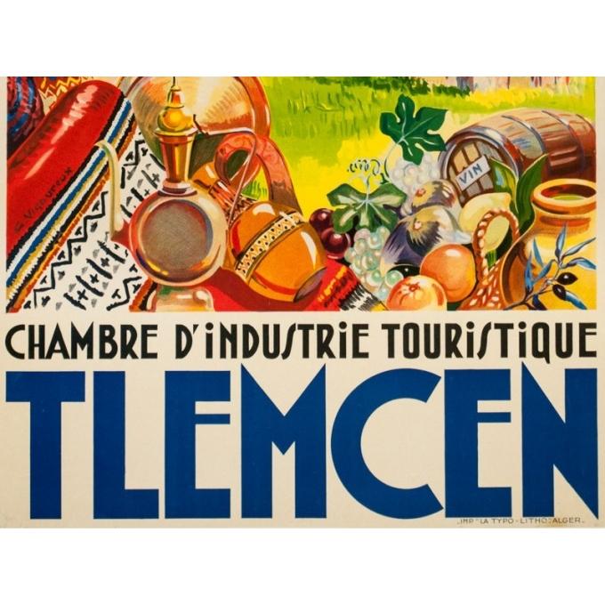 Affiche ancienne de voyage - G.Vigoureux - Circa 1930 - Tlemcen Sidi Bou Medin - 100 par 60 cm - 3