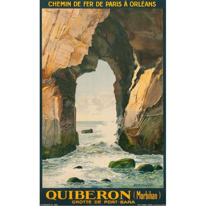 Affiche ancienne de voyage - L.Symonnot - 1929 - Quiberon Morbihan - 100 par 62 cm