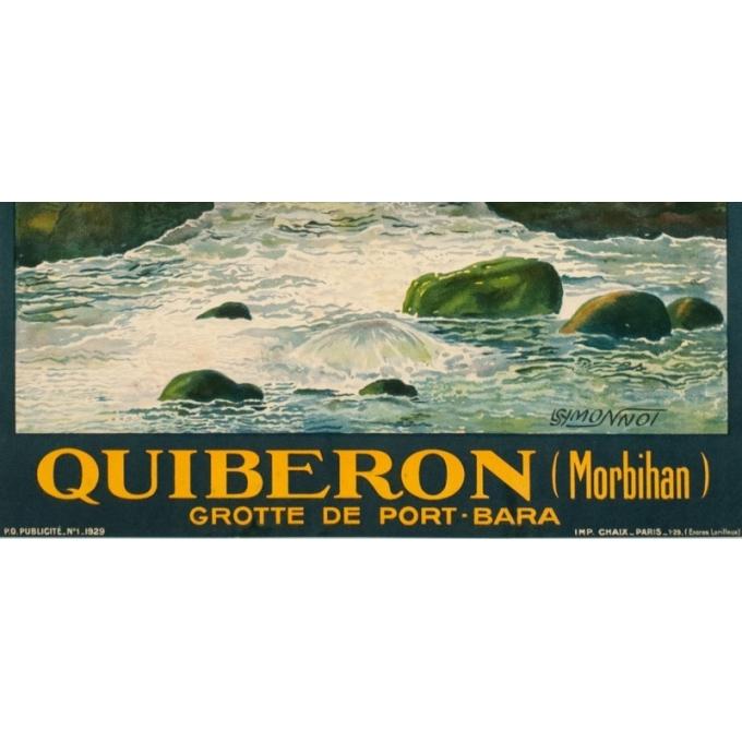 Affiche ancienne de voyage - L.Symonnot - 1929 - Quiberon Morbihan - 100 par 62 cm - 3