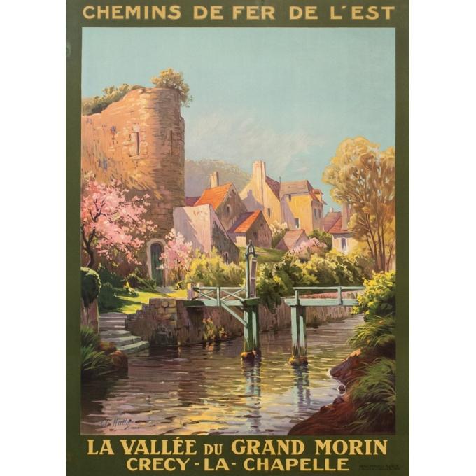 Affiche ancienne de voyage - Charles Hallés - 1924 - Crecy La Chapelle - 105 par 75.5 cm