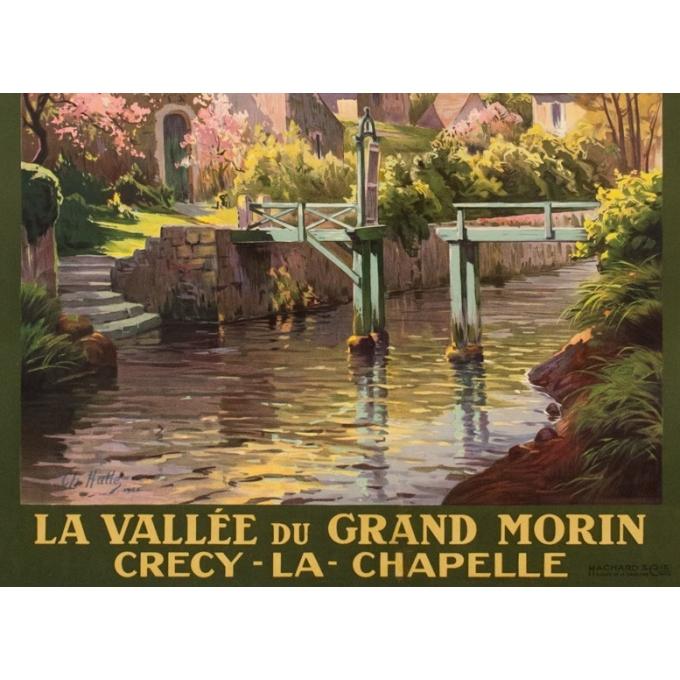 Affiche ancienne de voyage - Charles Hallés - 1924 - Crecy La Chapelle - 105 par 75.5 cm - 3