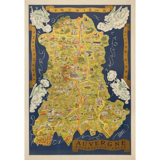 Affiche ancienne de voyage - Fernand Dantan - Circa 1950 - Auvergne Carte Illustrée - 95 par 66.5 cm