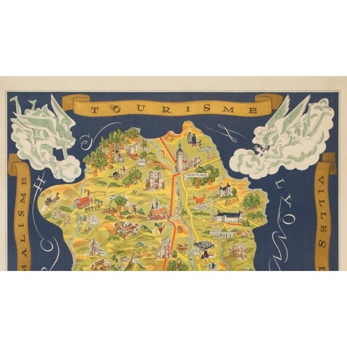 Affiche ancienne de voyage - Fernand Dantan - Circa 1950 - Auvergne Carte Illustrée - 95 par 66.5 cm - 2