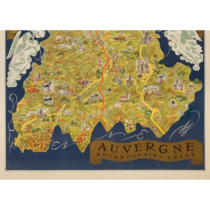 Vintage travel poster - Fernand Dantan - Circa 1950 - Auvergne Carte Illustrée - 37.4 by 26.2 inches - 4