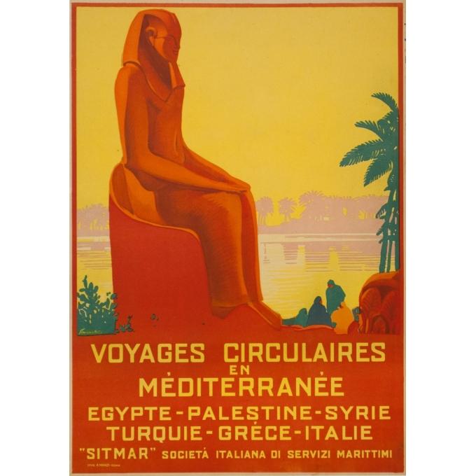 Affiche ancienne de voyage - Simonetti - Circa 1925 - Voyage Circulaire En Méditerranée - 69 par 48.5 cm