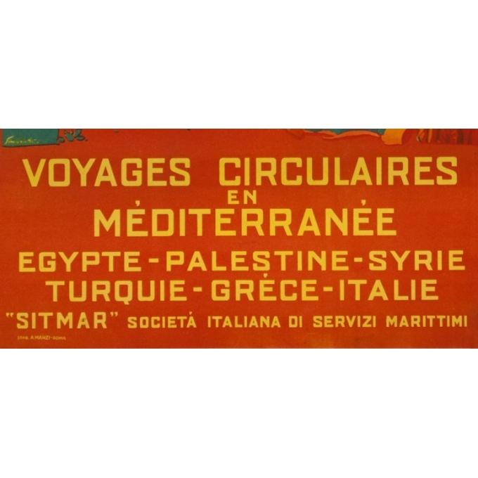 Affiche ancienne de voyage - Simonetti - Circa 1925 - Voyage Circulaire En Méditerranée - 69 par 48.5 cm - 3