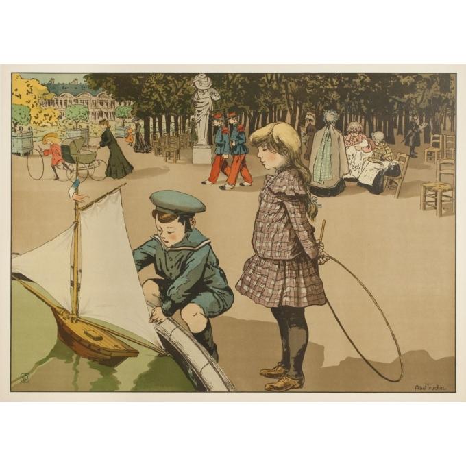 Affiche ancienne originale - Abel Truchel - Circa 1900 - Jardin Du Luxembourg - 90 par 65 cm