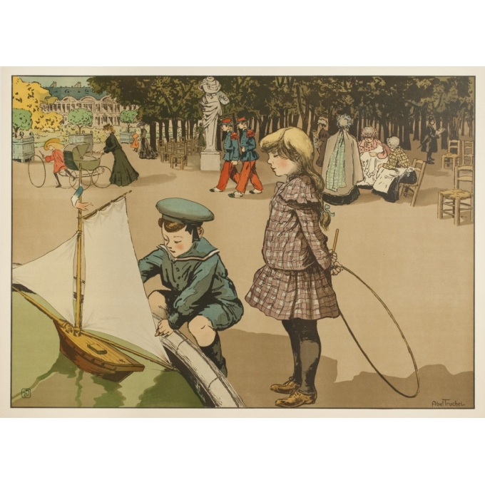 Vintage poster - Abel Truchel - Circa 1900 - Jardin Du Luxembourg - 35.4 by 25.6 inches