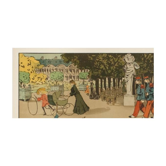 Affiche ancienne originale - Abel Truchel - Circa 1900 - Jardin Du Luxembourg - 90 par 65 cm - 2