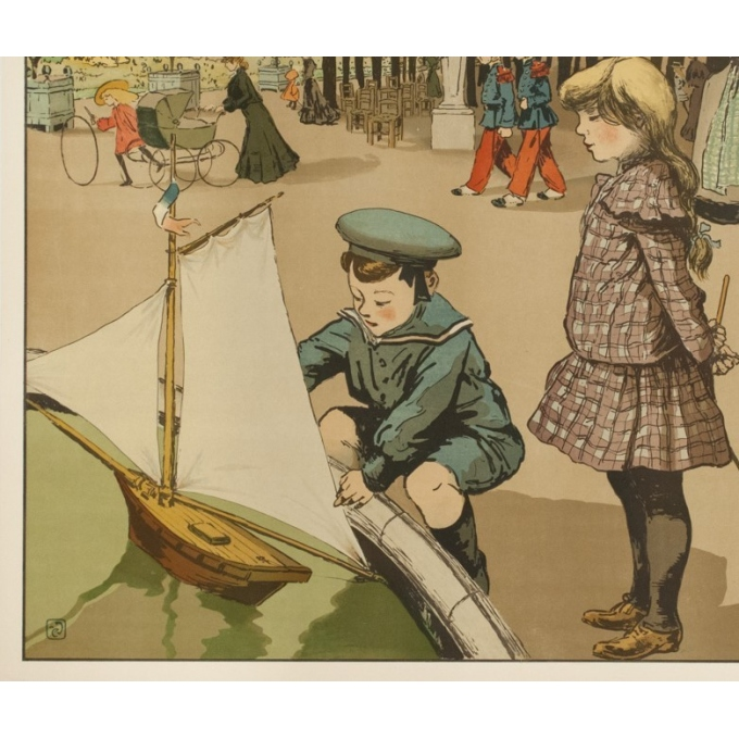 Affiche ancienne originale - Abel Truchel - Circa 1900 - Jardin Du Luxembourg - 90 par 65 cm - 4