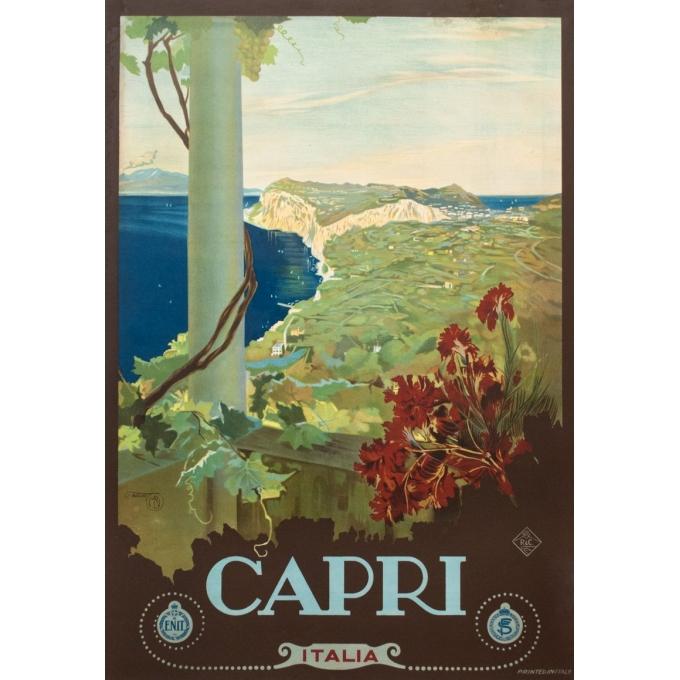Affiche ancienne de voyage - M.Borgoni - Circa 1925 - Capri Italie - 101 par 70 cm