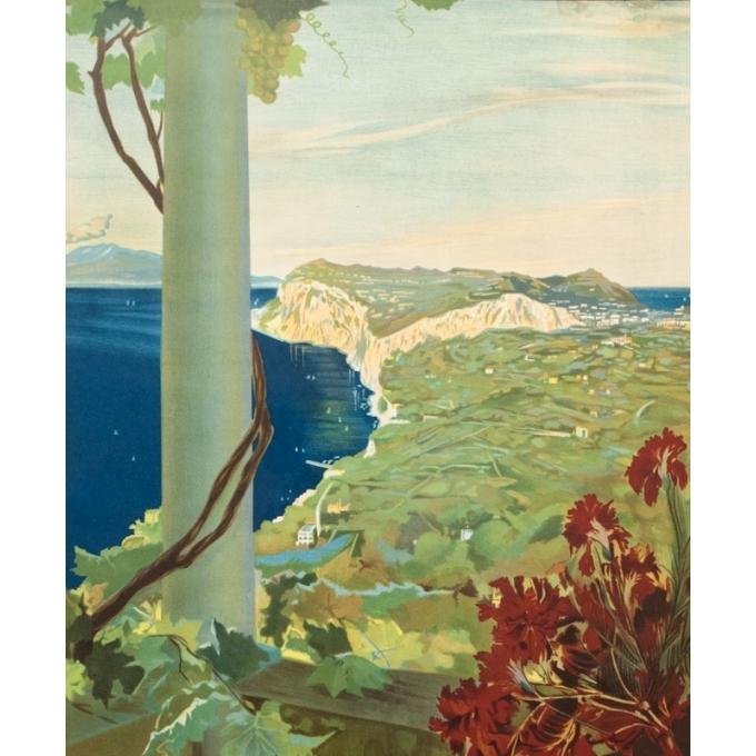 Affiche ancienne de voyage - M.Borgoni - Circa 1925 - Capri Italie - 101 par 70 cm - 2