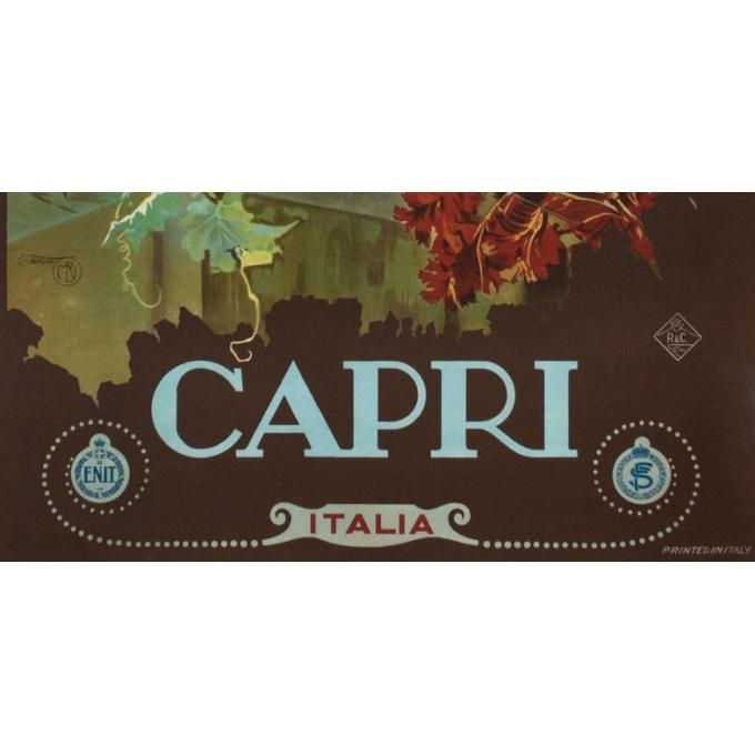 Vintage travel poster - M.Borgoni - Circa 1925 - Capri Italie - 39.8 by 27.6 inches - 3