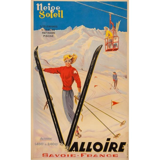 Affiche ancienne de voyage - Anonyme - 1946 - Valloire - 100 par 61.5 cm