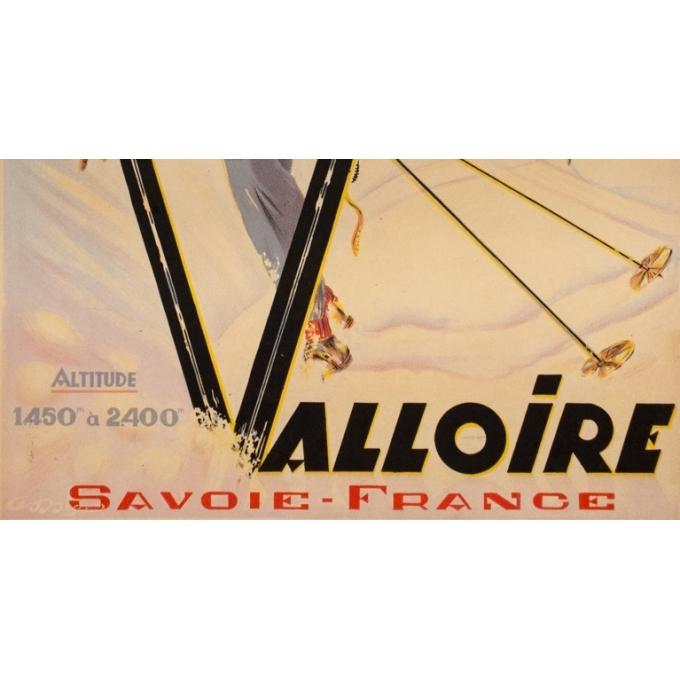 Affiche ancienne de voyage - Anonyme - 1946 - Valloire - 100 par 61.5 cm - 3