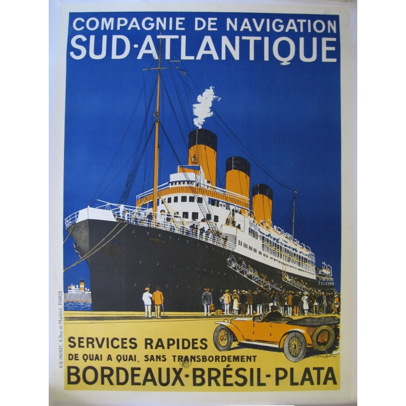 French poster south atlantic navigation company Bordeaux Brazil Plata. Elbé Paris.