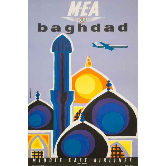 Vintage travel poster - Auriac - Circa 1960 - Baghdad Middle East Air Lines MEA - 31.5 by 20.9 inches