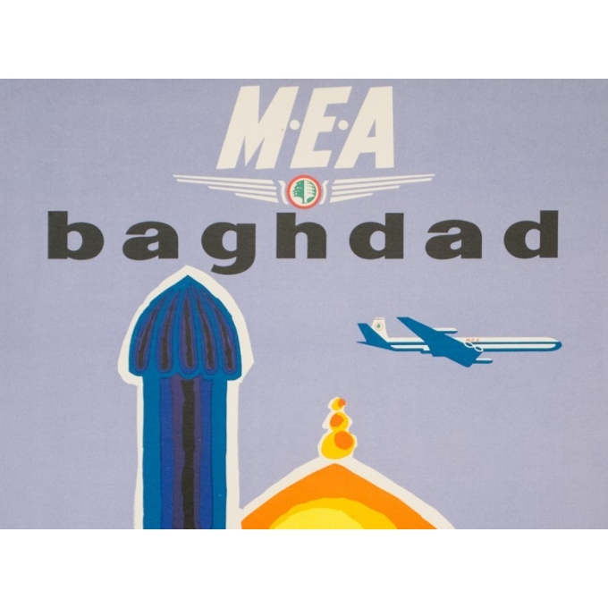 Vintage travel poster - Auriac - Circa 1960 - Baghdad Middle East Air Lines MEA - 31.5 by 20.9 inches - 2