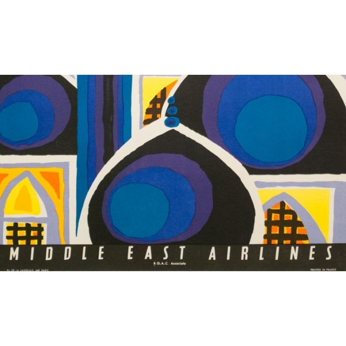 Vintage travel poster - Auriac - Circa 1960 - Baghdad Middle East Air Lines MEA - 31.5 by 20.9 inches - 3