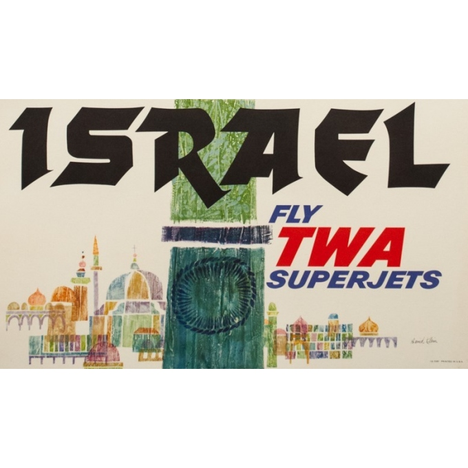 Affiche ancienne de voyage - David klein - Circa 1960 - Israël TWA - 101 par 63.5 cm - 3