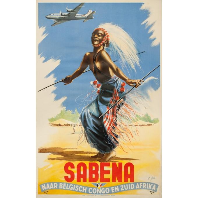 Affiche ancienne de voyage -  C./Pub - Circa 1950 - Sabena Naar Belgisch Congo En Zuid Afrika - 101 par 63 cm