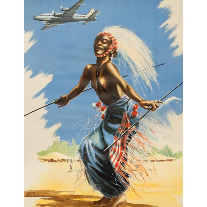 Affiche ancienne de voyage -  C./Pub - Circa 1950 - Sabena Naar Belgisch Congo En Zuid Afrika - 101 par 63 cm - 2