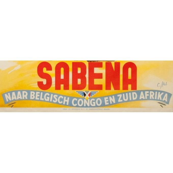 Affiche ancienne de voyage -  C./Pub - Circa 1950 - Sabena Naar Belgisch Congo En Zuid Afrika - 101 par 63 cm - 3