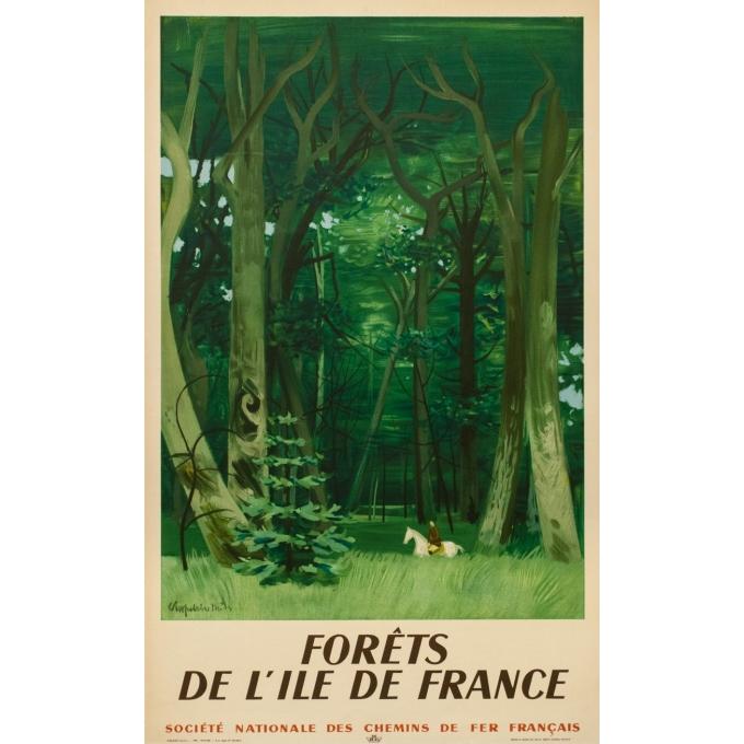 Affiche ancienne de voyage - Chaplin - 1949 - Forêts De L'Ile De France - 100 par 61 cm