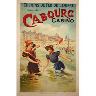 Orignal french vintage poster of western France : Cabourg casino. Elbé Paris.