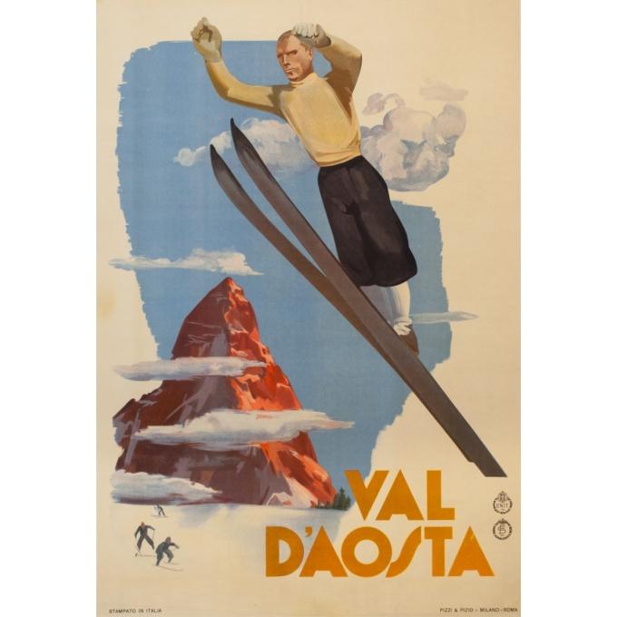 Affiche ancienne de voyage - Anonyme - circa 1930 - Val D'Aosta Val D'Aoste - 97 par 66 cm