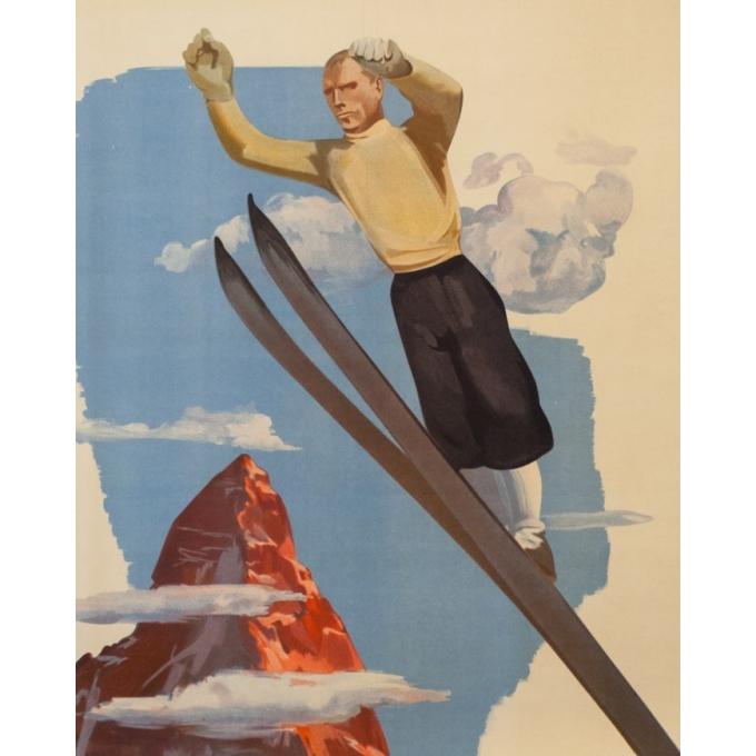 Affiche ancienne de voyage - Anonyme - circa 1930 - Val D'Aosta Val D'Aoste - 97 par 66 cm - 2