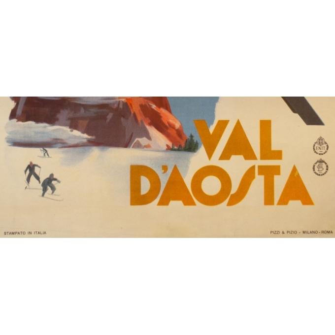 Affiche ancienne de voyage - Anonyme - circa 1930 - Val D'Aosta Val D'Aoste - 97 par 66 cm - 3