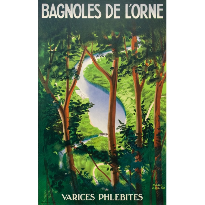 Vintage travel poster - Paul Colin - 1937 - Bagnole De L'Orne - 39.8 by 24.6 inches