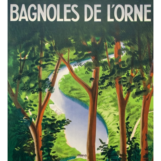 Vintage travel poster - Paul Colin - 1937 - Bagnole De L'Orne - 39.8 by 24.6 inches - 2