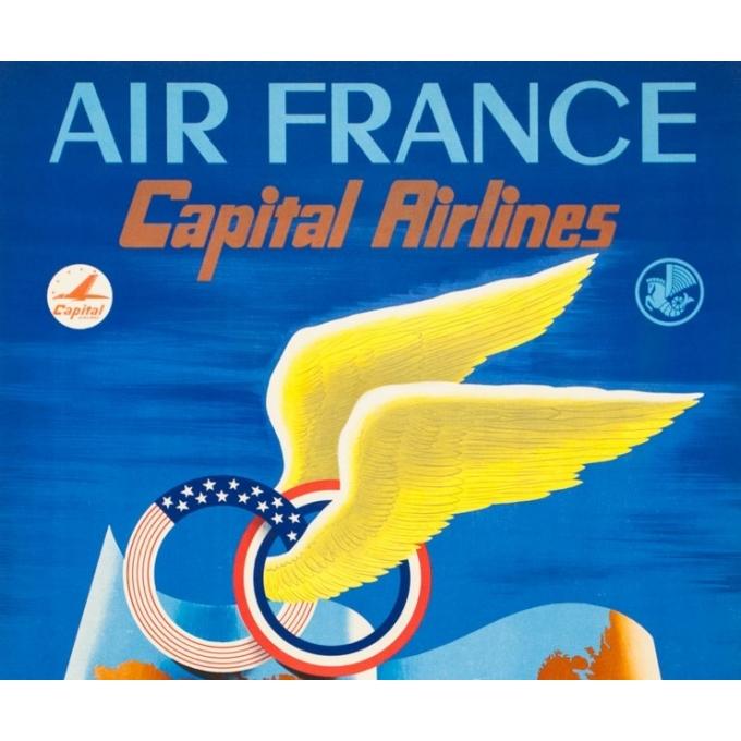 Affiche ancienne de voyage - Plaquet - 1950 - Air France Capital Airlines - 100 par 67 cm - 2