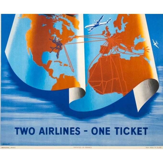 Vintage travel poster - Plaquet - 1950 - Air France Capital Airlines- 39.4 by 26.4 inches - 3