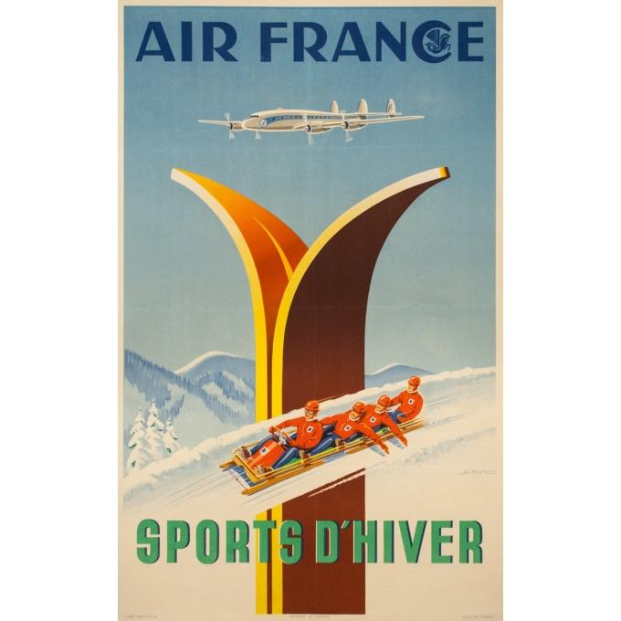 Affiche ancienne de voyage - A.Kow - 1951 - Air France Sports D'Hiver - 99 par 62 cm