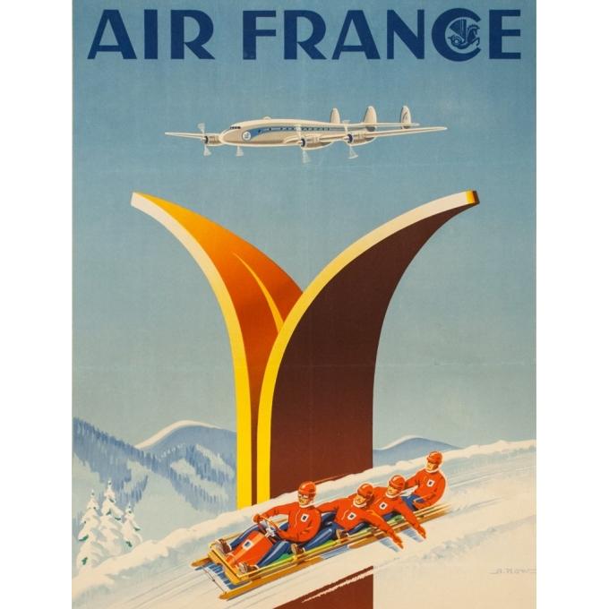 Affiche ancienne de voyage - A.Kow - 1951 - Air France Sports D'Hiver - 99 par 62 cm - 2