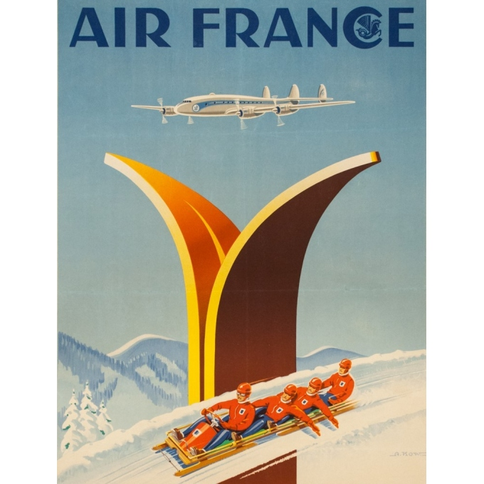 Vintage travel poster - A.Kow - 1951 - Air France Sports D'Hiver - 39 by 24.4 inches - 2