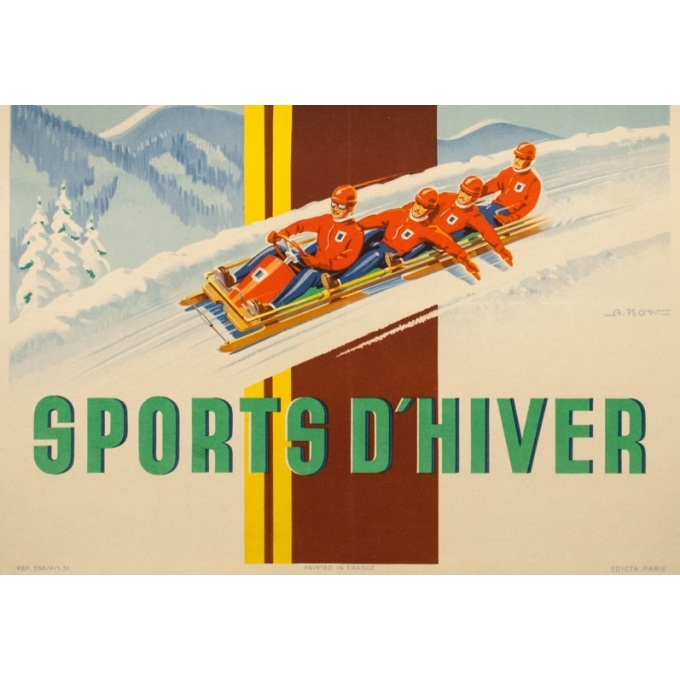 Vintage travel poster - A.Kow - 1951 - Air France Sports D'Hiver - 39 by 24.4 inches - 3