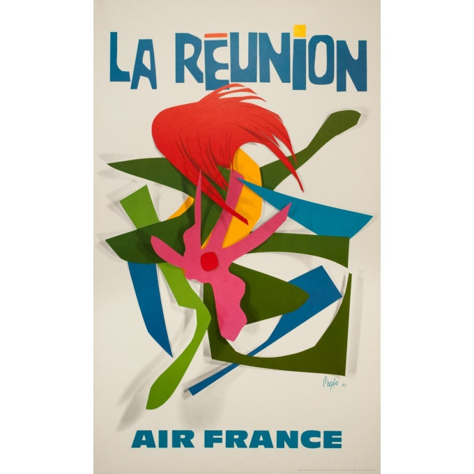 Vintage travel poster - Raymond Pagès - 1970 - Air France La Reunion - 39.2 by 25 inches