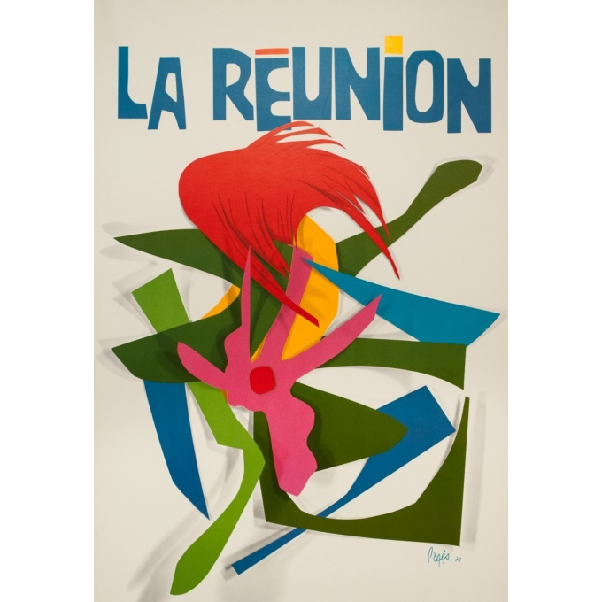 Vintage travel poster - Raymond Pagès - 1970 - Air France La Reunion - 39.2 by 25 inches - 2