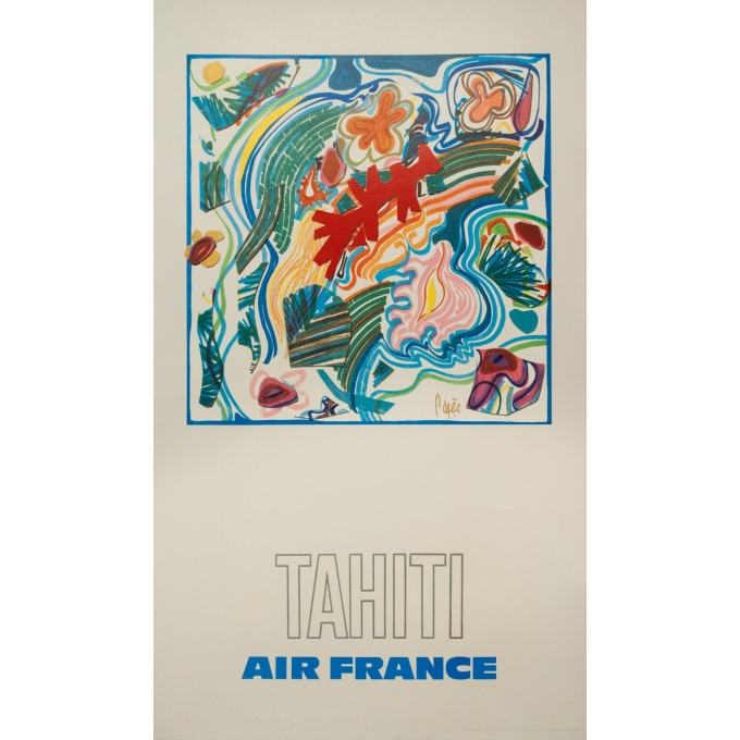 Vintage travel poster - Raymond Pagès - 1970 - Air France Tahiti - 39.2 by 25 inches
