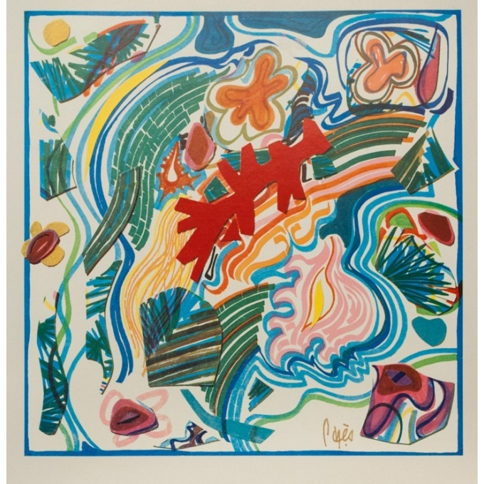 Vintage travel poster - Raymond Pagès - 1970 - Air France Tahiti - 39.2 by 25 inches - 2