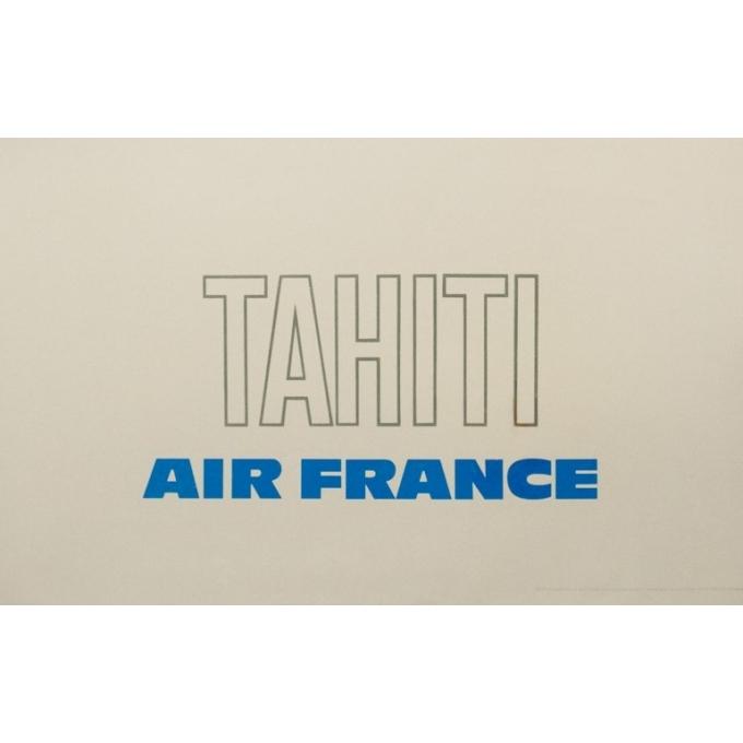 Affiche ancienne de voyage - Raymond Pagès - 1970 - Air France Tahiti - 99.5 par 63.5 cm - 3