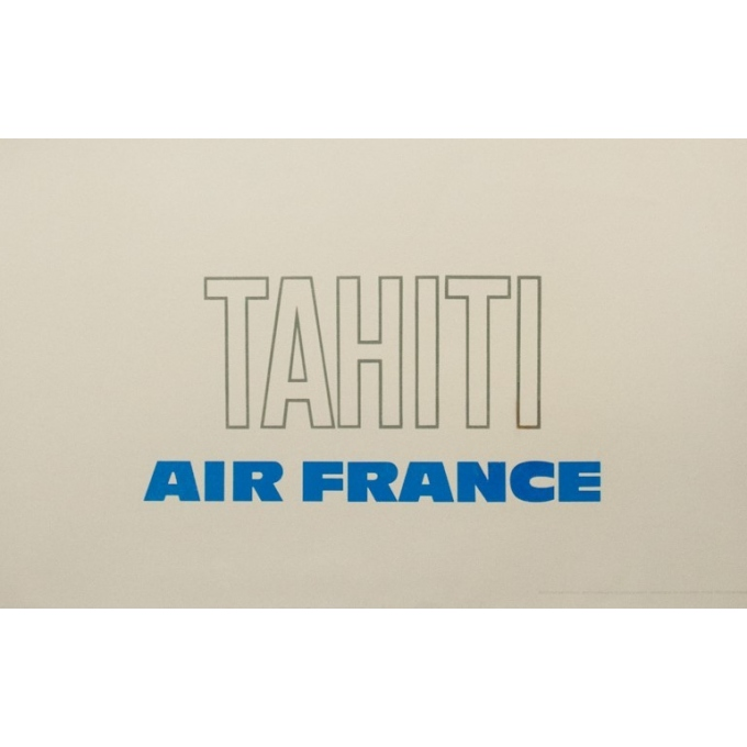 Vintage travel poster - Raymond Pagès - 1970 - Air France Tahiti - 39.2 by 25 inches - 3