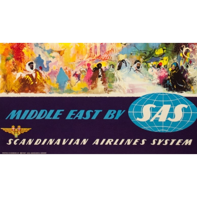 Vintage travel poster - ON - 1950 - Middle East SAS - 39.8 by 24 inches - 3