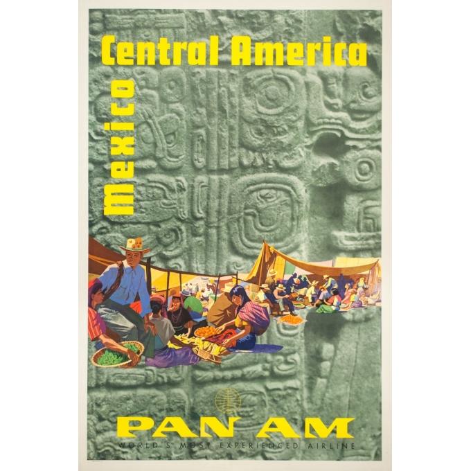 Affiche ancienne de voyage - Stenberry - 1959 - Mexico Central America Pan Am - 106.5 par 71 cm
